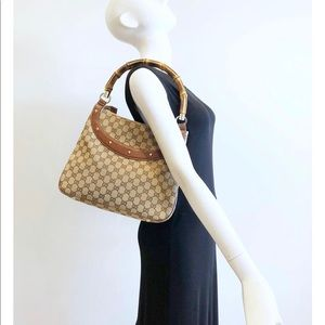 Authentic Gucci monogram bamboo handle bag